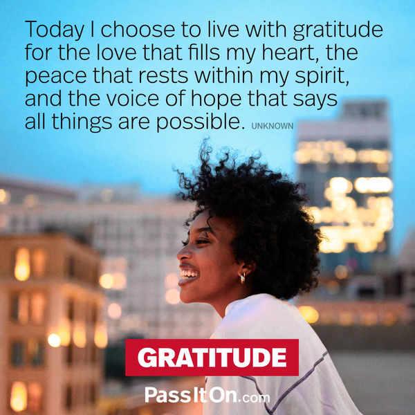Choose Gratitude  #thankyouthursday #peace #peacewords