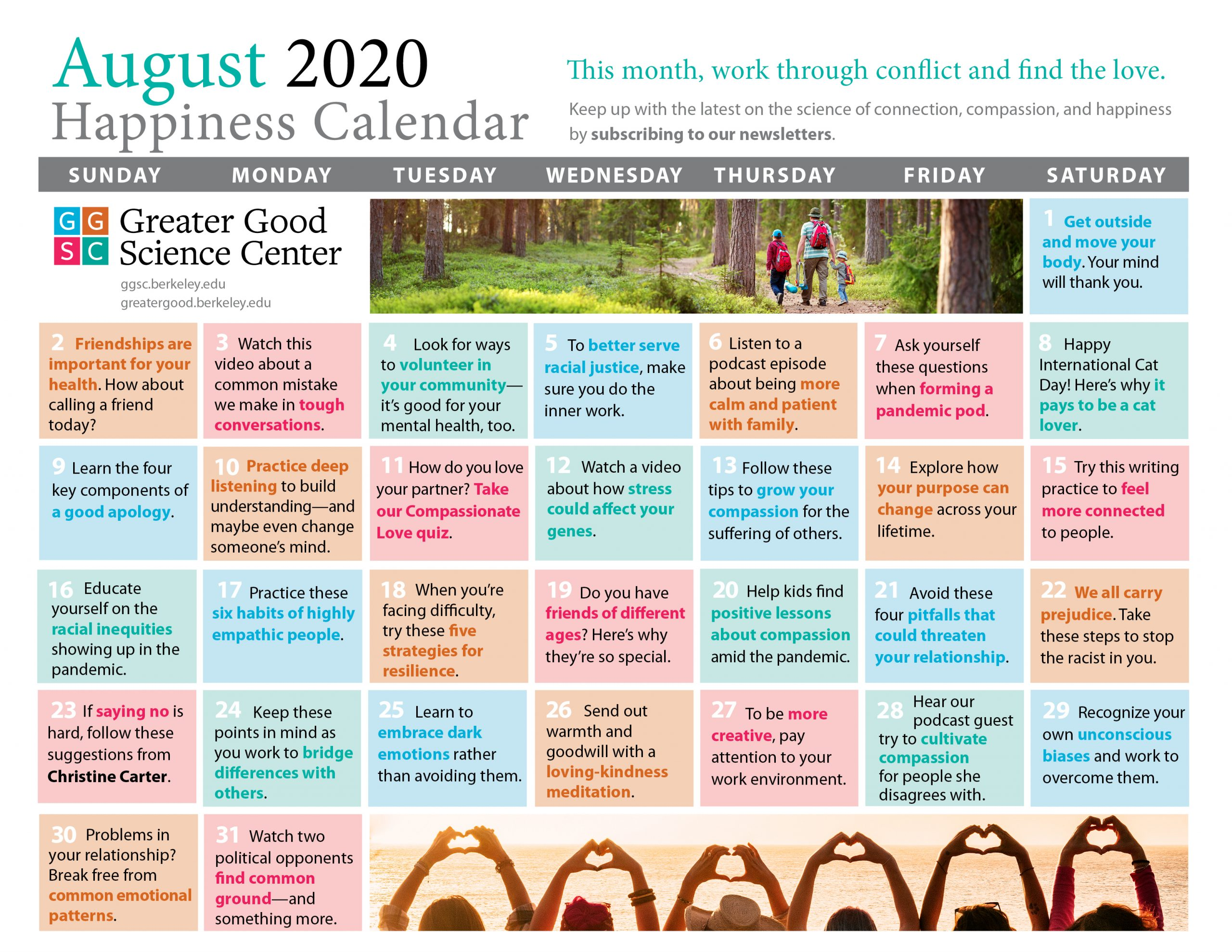 Happiness Calendar – August